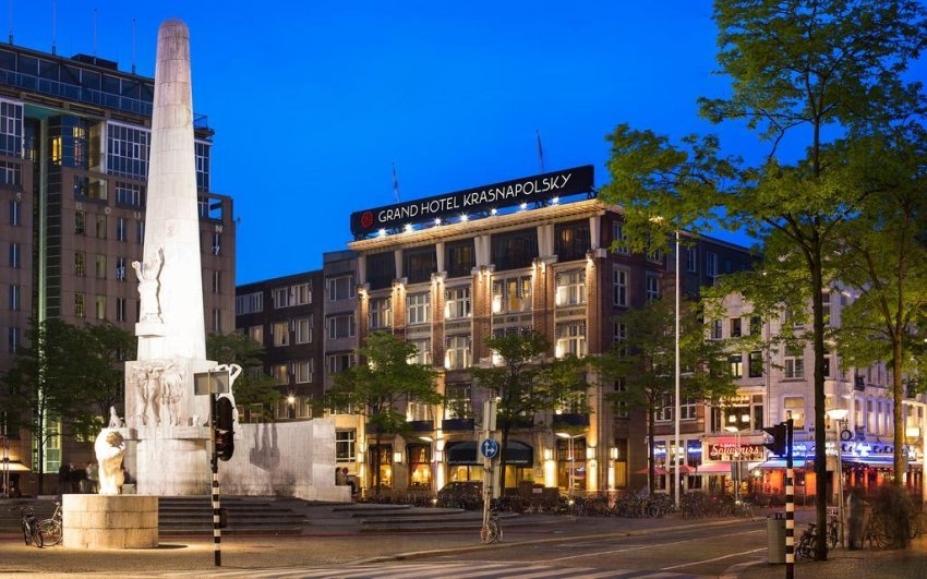 Grand Hotel Krasnapolsky. This 5-star hotel, in the heart of Amsterdam, is set on the edge of the famous Dam Square and opposite the Royal Palace. NH Collection Grand Hotel Krasnapolsky benefits from a grand cafe and a winter garden on site.