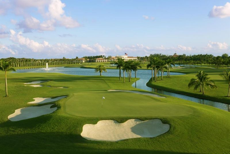 Trump National Doral. The outdoor pool includes a hot tub and 125-foot water slide. A fitness center and the Jim McLean Golf School are on site at Trump National Doral as well as a 48,000-square-foot spa.
