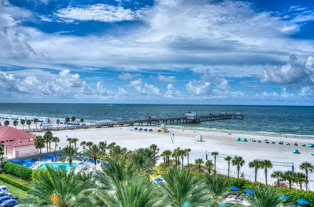 Florida Beach. The white beaches attract everyone. Children love to play in the sand and build sand castles. Teenagers will love to surf and play games on the beach, and adults can take-in the sun and sites.