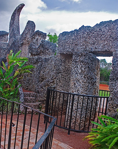 """Coral Castle. Genius, Ed Leedskalnin, sculpted over 1,100 tons of coral rock into a """"fantasy world carved out of stone""""."""