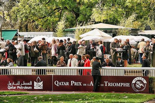 Prix de L'Arc de Triomphe. The race always takes place on the first Sunday in October and is the jewel in a great day's racing at the Longchamp racecourse in Paris.