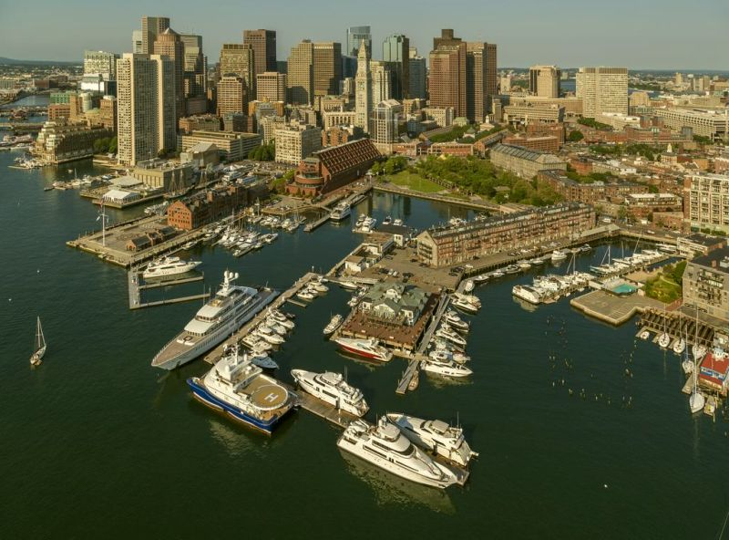 Best Hotels In Boston. Boston Yacht Haven waterfront inn boasts an on-site marina that is filled with boats during the summer season.